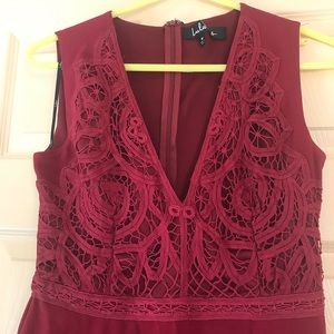 Lulus maroon embroidered dress